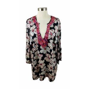 Anna Scholz 16  Floral Sequin Silk V Neck Tunic